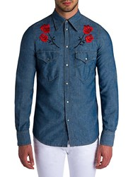 Viktor And Rolf Floral Embroidered Shirt Blue