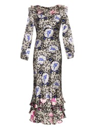 Doru Olowu Zanzibar Flower Print Silk Satin Dress White Multi