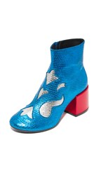 Maison Martin Margiela Viper Print Booties Blue Silver Red