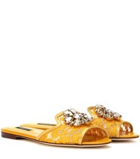 Dolce And Gabbana Bianca Embellished Slip On Sandals Yellow