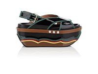 Marni Women's Patent Leather Wedge Sandals Black No Color