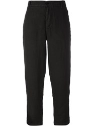 Barena Cropped Linen Trousers Black
