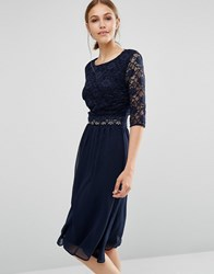Elise Ryan Midi Dress With Scallop Lace Navy