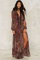 The Jetset Diaries Labyrinth Maxi Dress Brown Red
