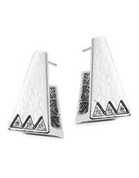 House Of Harlow Geometric Crystal Accented Stud Earrings Silver