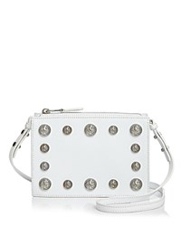 Versus By Versace Lion's Head Square Saffiano Leather Crossbody White Silver