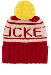 The Elder Statesman X Nba Women's Rockets Cashmere Pom Pom Beanie Red