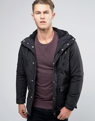 Pull And Bear Pullandbear Parka Jacket In Black Black