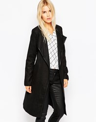 Brave Soul Tall Wrap Coat With Belted Waist Black