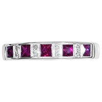 Ewa 18Ct White Gold Channel Set Ruby And Diamond Half Eternity Ring