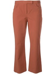 Theory Slim Cropped Trousers Brown