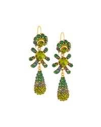 Jose And Maria Barrera Golden Pave Crystal Triple Drop Earrings No Color