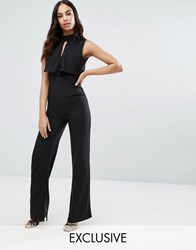 Vesper Jumpsuit With Keyhole Origami Detail And Open Back Black