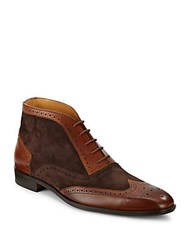 Saks Fifth Avenue Leather Wingtip Ankle Boots Brown