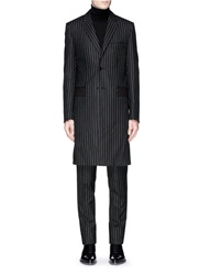 Givenchy Raw Edge Pinstripe Wool Coat Black