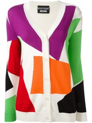 Boutique Moschino Block Pattern Cardigan White