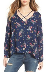 Lush Women's Cross Front Blouse Navy Coral Mustard Floral