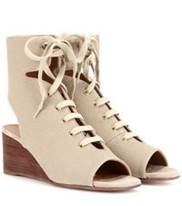 Chloe Iness Lace Up Wedge Sandals Neutrals