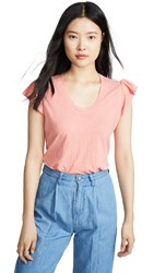 Rebecca Taylor La Vie Sleeveless Washed Textured Jersey Tee Strawberry Ice