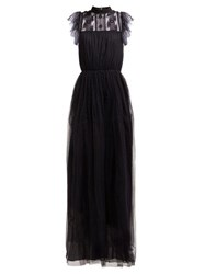 Giambattista Valli Floral Lace And Polka Dot Tulle Gown Black
