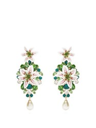 Dolce And Gabbana Lily Crystal Clip Earrings Gold