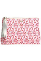 Melissa Odabash Tasseled Printed Canvas Pouch White