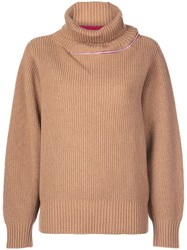 Sacai Contrasting Stripe Turtleneck Jumper Brown