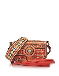 Moschino Coral Red Crossbody Bag W Tassels