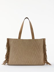 And Or Isabella Suede Fringe Large Studded Tote Bag Taupe