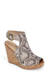 Johnston And Murphy Women's Mila Slingback Platform Wedge Sandal Snake Print Leather