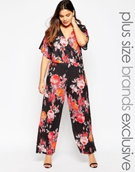 Pink Clove Floral Jumpsuit With Keyhole Back Multi