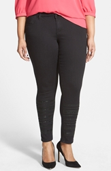 7 For All Mankind Embellished Leg Stretch Skinny Jeans Raven Plus Size