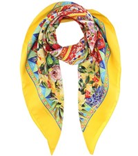 Dolce And Gabbana Printed Silk Twill Scarf Multicoloured