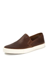 Frye Brett Perforated Leather Slip On Sneaker Cognac