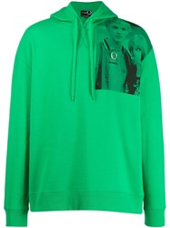 Fred Perry Raf Simons X Two Tone Print Hoodie Green