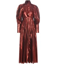 Ellery Contained Voluminous Sleeve Metallic Dress Red