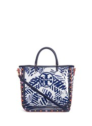 Tory Burch 'Marguerite' Palm Leaf Print Plastic Tote Blue
