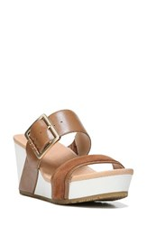 Dr. Scholl's Women's Original Collection Frill Wedge Sandal Saddle Tan Leather