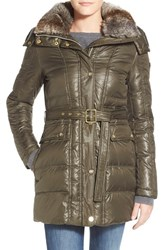 Women's Vince Camuto Down And Feather Fill Coat With Faux Fur Lined Hood Olive