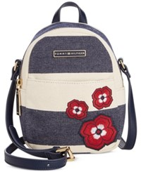 Tommy Hilfiger Aurora Rugby Mini Backpack Crossbody Navy Natural