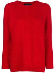 Simone Rocha Patchwork Knit Sweater Red