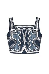 Peter Pilotto Embroidered Cropped Top Blue