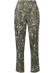 3.1 Phillip Lim Floral Print Loose Trousers Green