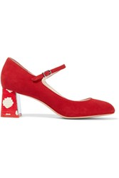 Sophia Webster Renee Suede Mary Jane Pumps Red