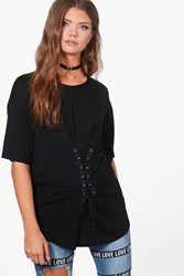 Boohoo Kaia Lace Up Front Oversized T Shirt Black