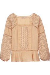 Chelsea Flower Crocheted Paneled Pintucked Cotton Top Beige
