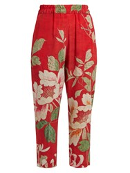 By Walid Morton Silk Crepe De Chine Cropped Trousers Red Print