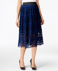 Eci Lace A Line Skirt Navy With Black Lining