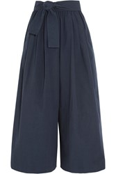 Tome Belted Cotton Poplin Wide Leg Pants Navy