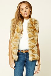 Forever 21 Faux Fur Vest Tan Brown